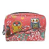 Bolsa de cosméticos Bolsa de Maquillaje Bolsa de cosméticos de Viaje, Bolso de Mano, Bolso de baño,Fondo navideño con pájaros en Estilo romántico