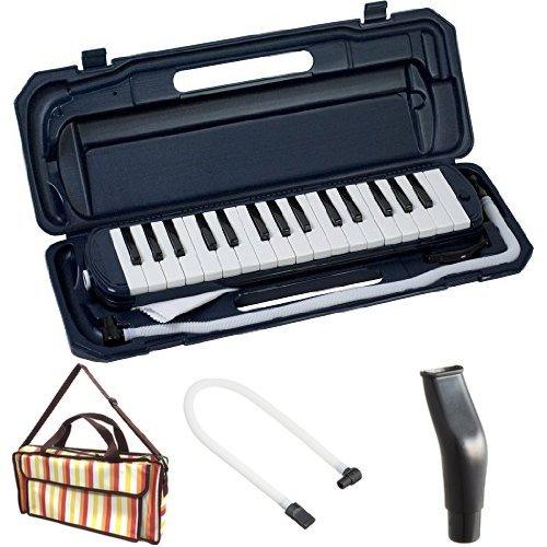 KC 鍵盤ハーモニカ (メロディーピアノ) ネイビー P3001-32K/NV + 専用バッグ[Multi Stripe] + 予備ホース + 予備吹き口 セット