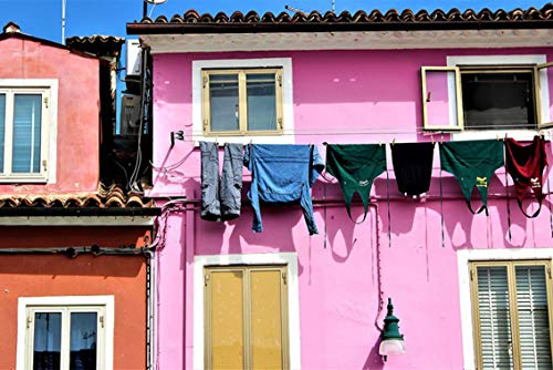 Wall Art Print on Canvas(32x21 inches)- Venice Burano Italy Washing Buildings Architecture