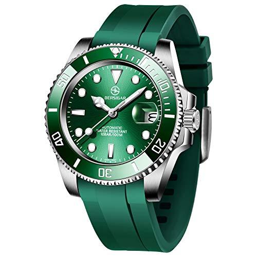 BERSIGAR Mechanische automatische Taucheruhren Herren Klassische Uhr Analoge automatische Herrenmode wasserdichte lässige grüne Uhr mit Silikonarmband