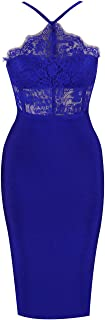 Women's Sexy Lace Spliced Backless Spaghetti Strap Halter Cocktail Party Bandage Dress