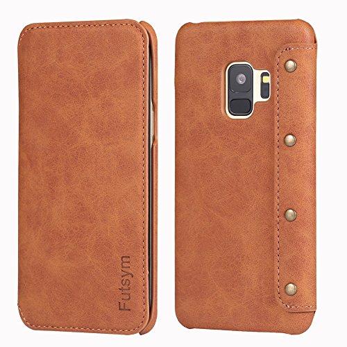 FUTSYM Leather Flip Case for Galaxy S9 Plus