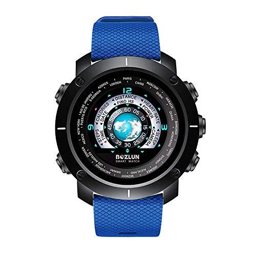 Zfeng Reloj inteligente para hombre, impermeable, digital, deportivo, monitor de frecuencia cardíaca, llamada SMS cronómetro, rastreador de actividad, color azul