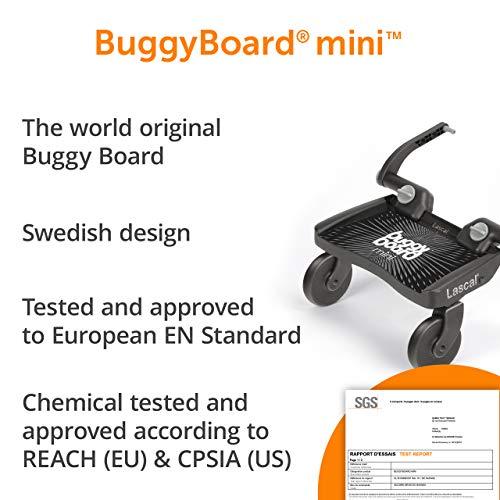 Lascal BuggyBoard Mini, Pedana passeggino universale compatibile con quasi tutti i modelli di passeggini, Pedana buggy board per bambini di 2-6 anni (22 kg), blu