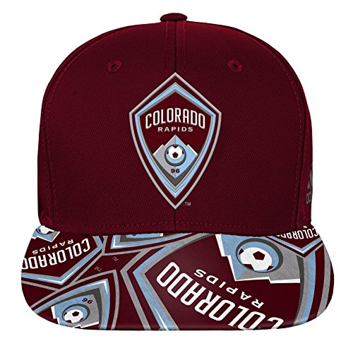 adidas Boys MLS by Outerstuff Flatbrim Snapback Burgundy 1, Colorado Rapids