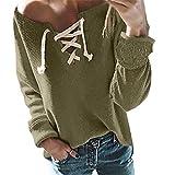 iHENGH Damen Herbst Winter Bequem Mantel Lässig Mode Jacke Frauen Casual V Ausschnitt Krawatte Knit Lose Langarm T Shirt Bluse Tops