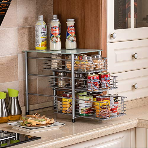 Flagship 3 Tier Sliding Backet Organizer Drawer with Crystal Tempered Glass Mesh Shelves for Spice Rack Countertop Kitchen Under Sink Drawer Bathroom Office Silver