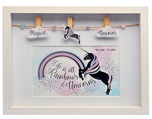Carousel Home - Marco de Fotos de Madera con diseño de Unicornio, 6 x 4 cm, Color Blanco