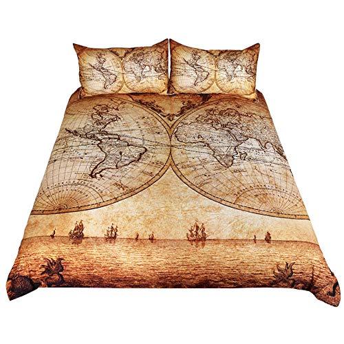 Wzhfsq Juego de funda de edredón para cama individual, cama de matrimonio, tamaño king, 3 unidades, 230 x 220 cm, diseño de tres, de microfibra suave