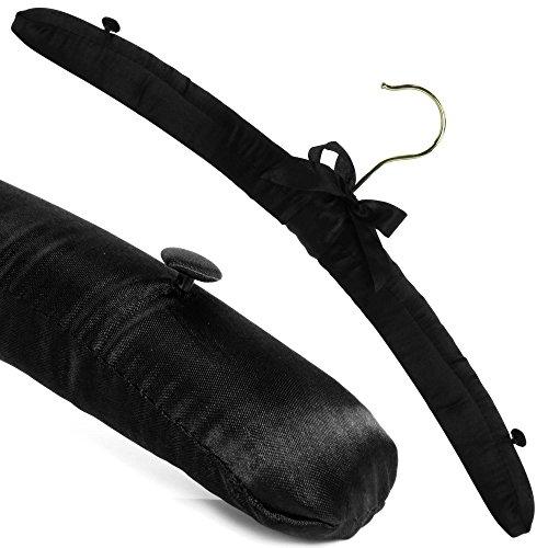 Hangerworld - Pack de 10 Perchas de Raso, Acolchadas, con Botones en los Hombros, Color Negro. Ideal para lencería, Prendas delicadas y de Lana - 43 cm