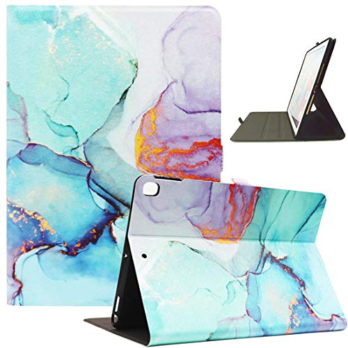 Bbjjkkz iPad 10.2 Case for Kids Girls Women, iPad 8th Generation 2020 Case, iPad 7th Generation 2019 Case, iPad Air 3 10.5 2019 Case, Ultra Slim Multi-angle Stand Leather Cute Case, Marble Green