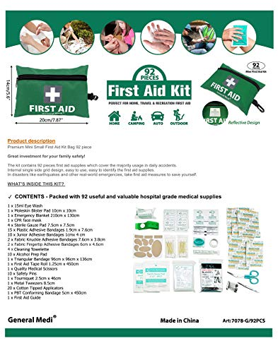 General Medi Mini First Aid Kit,92 Pieces Small First Aid Kit - Includes Emergency Foil Blanket, Scissors for Travel… 1