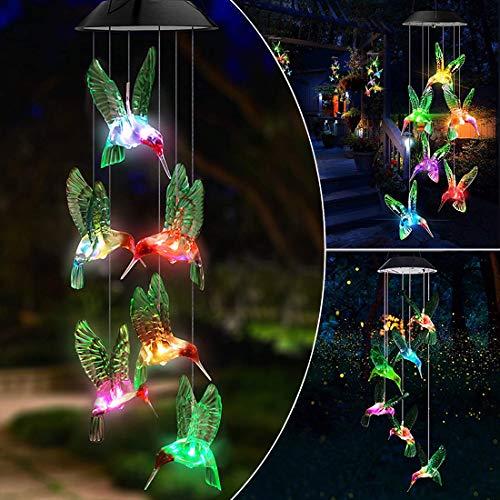 Benooa Solar Windspiele Kristallkugel Bunte Windspiele Mobile Solarleuchten Tragbare wasserdichte Outdoor-dekorative hängende LED-Leuchte für zu Hause,Terrasse,Garten (Hummingbird)