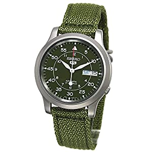 Fashion Shopping SEIKO Men's SNK805 SEIKO 5 Automatic Stainless Steel Watch with Green Canvas