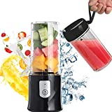 Toycol Portable Blender Personal Size Blender Bottles for Shakes and Smoothies with 2*320ml Bottles USB Rechargeable Mini Fruits Juicer Cup BPA Free Wireless 6 Blades Strong Power Ice Mixer Gift Package 10.8 OZ (Black)