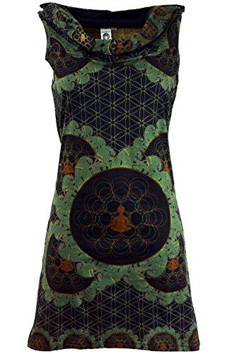 Guru-Shop Kapuzen Mandala Minikleid, Goa Festivalkleid, Damen, Olive, Baumwolle, Size:M/L (38/40), Kurze Kleider Alternative Bekleidung