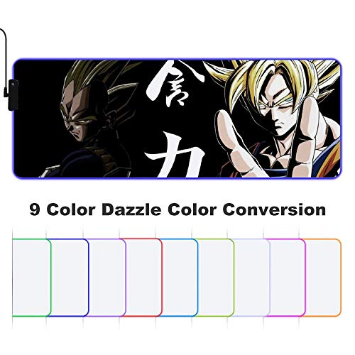 Goku Drago-n Bal-l 9 RGB Extended Gaming Mouse Pad XXL Mouse Pad Mat Long Led Mousepad Anti Slip Neoprene Base Edge Stitched for Gaming/Keyboard/E-Sports