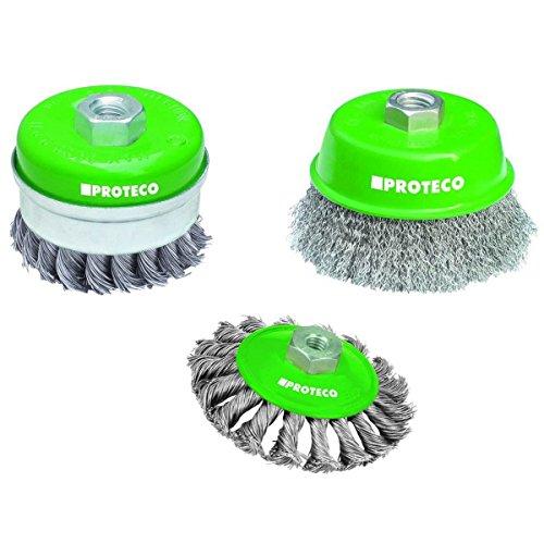 Proteco-Werkzeug® Edelstahldraht-Bürsten Set 3 tlg für Winkelschleifer V2A Inox Topfbürste Kegelbürste Gewinde M14 x 2,0