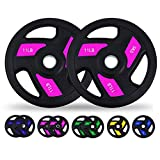 loinrodi Olympic Bumper Weight Plate, 2-Inch Rubber Coated Grip Plate Pairs 5.5/LB11LB/22LB/33LB/44LB for Weightlifting,Steel Insert, Strength Training,Crossfit Bodybuilding (11LBx2)