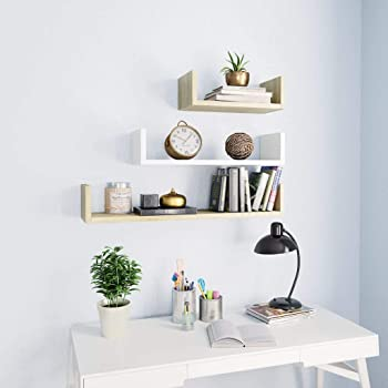HOMCOM Juego de 3 Cubos Estantes de Pared Estanter/ía para Libro CDs Baldas Flotantes Decorativo Blanco