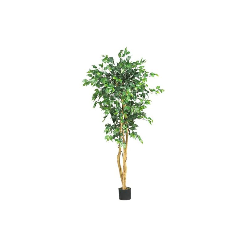 silk flower arrangements nearly natural 5208 ficus artificial tree with curved trunk, 5-feet, green