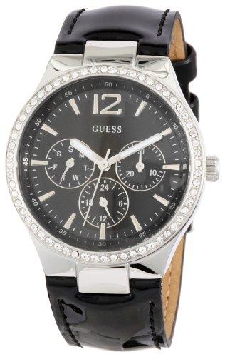 Guess W11586L1 - Reloj analógico de Cuarzo para Mujer, Correa de Cuero Color Negro