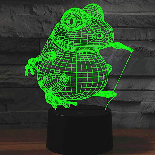 Tissen 3D Frog Night Light 7 Colors Mood Light Touch Switch USB Table Desk LED Light Christmas Present Kids Home Party Birthday Gift