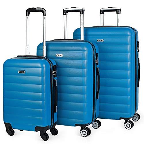 ITACA - 71200 Juego Set 3 Maletas Trolley 50/60 / 70 cm ABS. Expandibles. Rígidas, Resistentes y Ligeras. Mango Telescópico, 2 Asas, 4 Ruedas Dobles. Candado Integrado, Color Azul Cian
