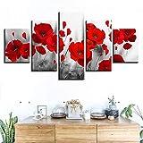 QWERGLL Tela con Stampa a 5 Pannelli Quadri Stampati su Tela Soggiorno Wall Art 5 Pezzi Papaveri Dipinti Fiori Rossi Poster Decorazioni per La Casa Modulari