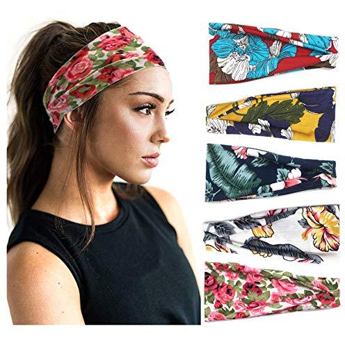 5 Pack Femmes Bandeau Boho Floral Style Cross Head Wrap Large Bandana Noeud Bandeaux Élastique Criss Head Wrap Yoga Turban Cheveux Accessoires …