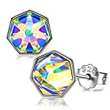 Sellot Colorful Stud Earrings Sterling Silver Crystal from Swarovski Earrings for Girl Flat Pad Hypoallergenic Jewelry for Women Unusual Earrings for Young Ladies Valentines Day Gifts for Girlfriend