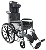 Karman Recliner Wheelchair in 20 inch with Removable Headrest and Pillow, Chrome Frame