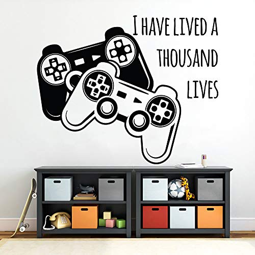 Gamer wall decal, game room decor, i have lived a thousand lives, gamer quote, playroom decor, gamepad decal, quote for game, teen boy decor, geek decal