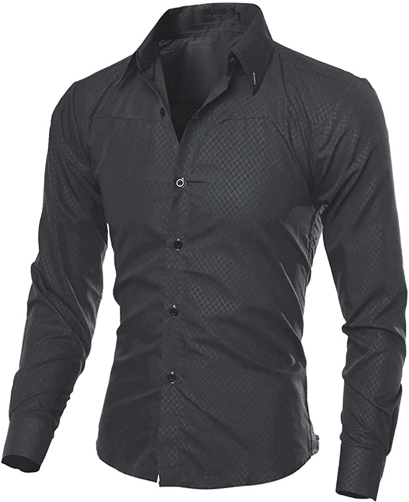 KEEYO Mens Casual Slim Fit Dress Shirts Wrinkle Free Long Sleeve Work Business Formal Cotton Button Down Shirts Tops