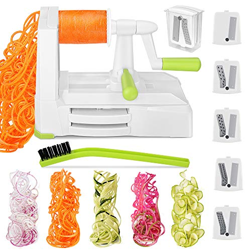 Reesibi Spiralizer Kitchen, Manual Grater Slicer Cutting Vegetables into Spaghetti-Like, 5 Blades Adjustable, Spiral Slicer for Courgette Spaghetti Vegetarian Cooking Potato Carrot Cucumber