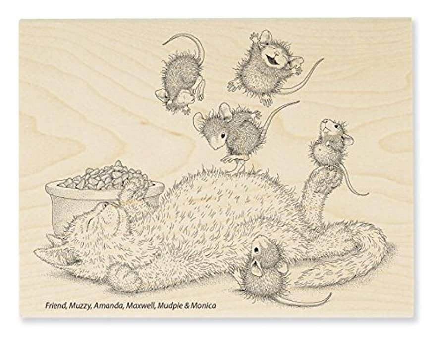 Stampendous House Mouse Wood Stamp, Kitty Bounce