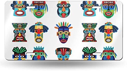 Dom576son 15,2 x 30,5 cm Nummernschild, Aluminium-Schild, Zulu oder Azteken-Masken-Symbole, 50 Status, personalisierbar, personalisierbar