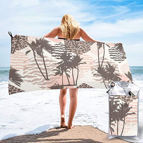 Colin Design - Toallas de viaje de microfibra, diseño exótico sin costuras, con palmas tropicales, secado rápido, ligera, sin arena, para tomar el sol, hacer mochila, deportes, yoga, natación, 160 x 81 cm