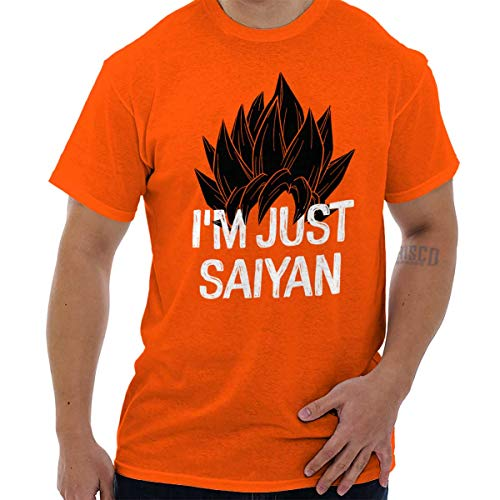 Brisco Brands Nerdy Im Just Saying Funny Goku Anime Pun T Shirt Tee Orange