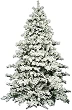 AMERIQUE 691322309737 7 FEET Premium Artificial Full Body Shape Christmas Tree with Metal Stand, Heavily Flocked Snow, Unlit, 7', Snowy