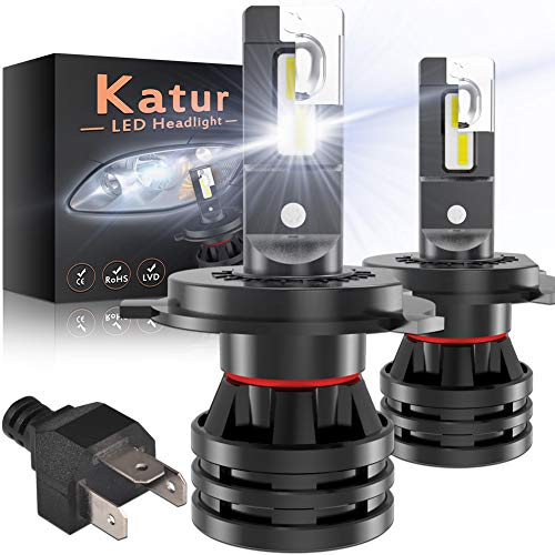 KATUR H4 9003 Lampadine per fari LED HB2 Hi/Lo Mini Design Chips CREE potenziati Kit di conversione Faro per LED all-in-One da 12000 Lumen 55W 6500K Xenon White-2 Years Waranty