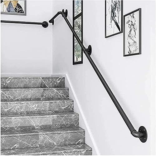 ZCJH Staircase Handrails, Professional Industrial Style Stair Black Pipe Handrail, Non-Slip Wrought Iron Hand Rails,Home Against The Wall Indoor Loft Elderly Railings Handrails (Size : 17ft)