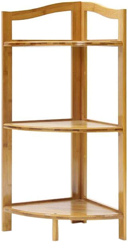 JCAFA Shelves Bookshelf Bamboo Corner Frame Plant Stand Corner Shelf Storage Tool, Two Sizes (color   Bamboo color, Size   3 Layers)