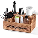 Hair Styling Tools Organizer - Rustic Wooden Hair Dryer Holder,Bathroom Countertop & Vanity Caddy Storage Stand for Blow Dryer, Curling Iron, Hair Tools and Beauty Accessories