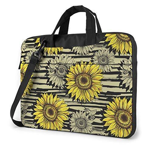 Bees Sunflower Lightweight Waterproof Laptop Notebook Shoulder Backpack Bag Briefcase Messenger with Strap 15.6″