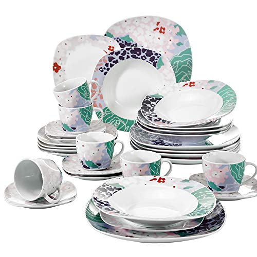 VEWEET Olina Servizio di Piatti in Porcellana Stoviglie Set 30 Pezzi con 6 Tazze 175 ml, 6 Piattini, 6 Piatti, 6 Piatti Fondi e 6 Piatti da Dessert per 6 Persone