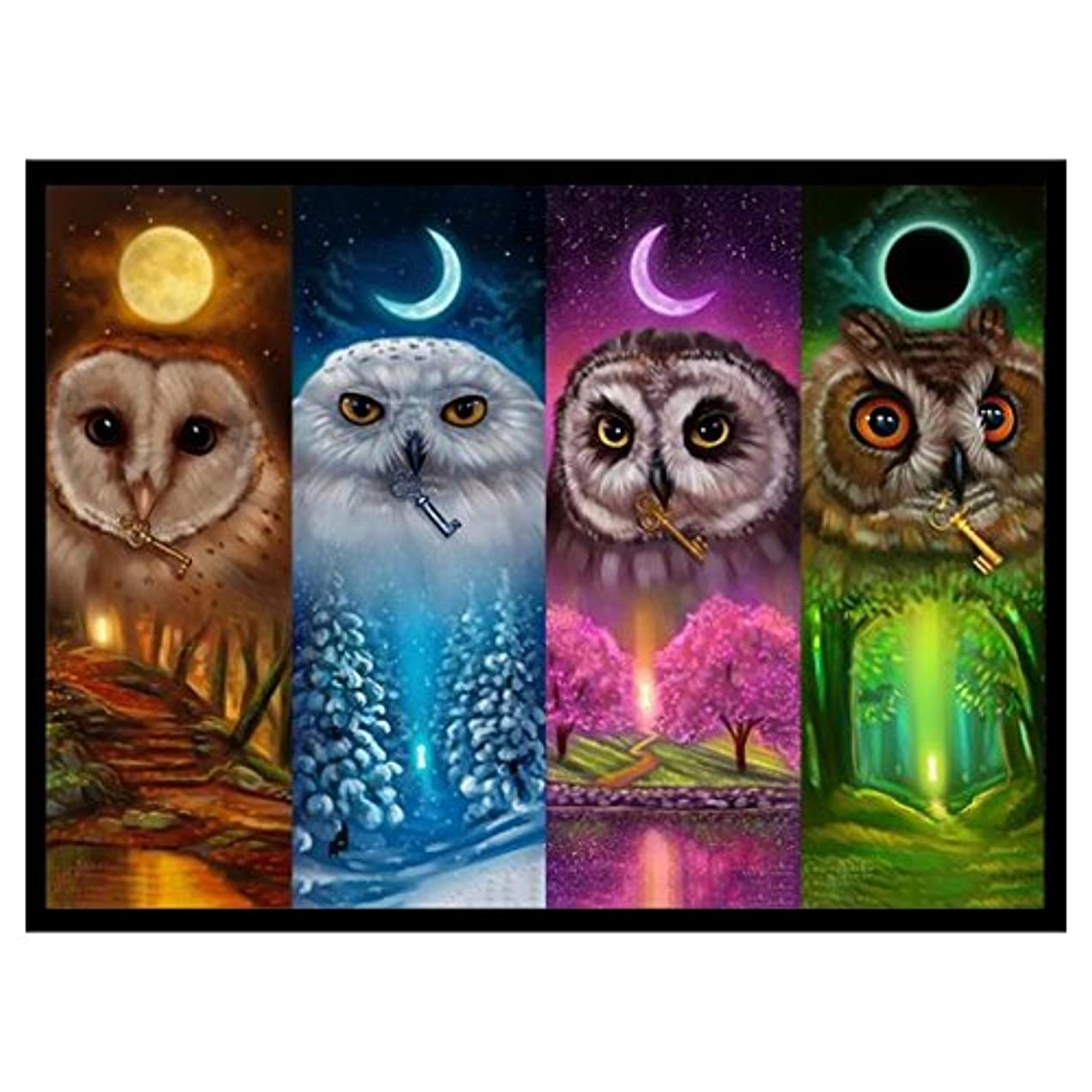 URlighting DIY 5D Diamond Painting Kits for Adults by Number Kits, Full Drill Embroidery Rhinestone Cross Stitch Arts Craft Canvas for Home Wall Decoration, 16 x 12 inch (Four Owls)