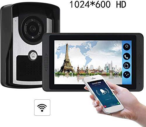 ZGYQGOO 1024 * 600 IR Night Vision7 Pouces HD, visionneuse Porte, Sonnette vidéo Night Vision, Porte vidéo Porte téléphone, Sonnette sans Fil bidirectionnelle, étanche à la Pluie, Noir