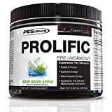 PEScience Prolific Pre Workout Powder, Sour Green Apple, 40 Scoop, Energy Supplement with Nitric Oxide
