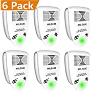 WILDJUE Ultrasonic Pest Repeller Pest Control [6-Pack] Spider Repellent, Electronic Plug in Pest Repeller- Repels Mice, Roaches,Spiders,Other Insects (White)
